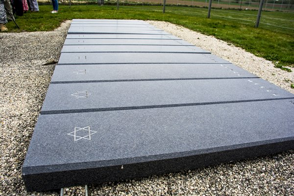 Thirty-four gravestones mark the site of a mass grave of Holocaust victims discovered in 2005.