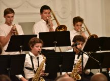 Students of International School of Stuttgart and Stuttgart High School entertain the audience with a jazz performance at the celebration of the 70th anniversary of the Speech of Hope, in Stuttgart, Oct. 7, 2016. Photo by the U.S. Consulate General Frankfurt