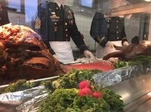 Thanksgiving was served at the 10th Special Forces Group (Airborne) Dining Facility on Panzer Kaserne by various command leaders throughout the day, Nov. 23, 2016. Photo by Holly DeCarlo-White