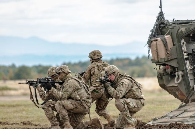File photo of 2nd Cavalry Regiment Soldiers demonstrating dismount tactics at Exercise Slovak Shield 2016, Oct. 13, 2016, at Military Training Area Lest, Slovak Republic. U.S. Soldiers participated in Slovak Shield as a part of Operation Atlantic Resolve, a U.S. led effort in Eastern Europe that demonstrates the U.S. commitment to the collective security of NATO and enduring peace and stability in the region. Photo Credit: Staff Sgt. Micah VanDyke