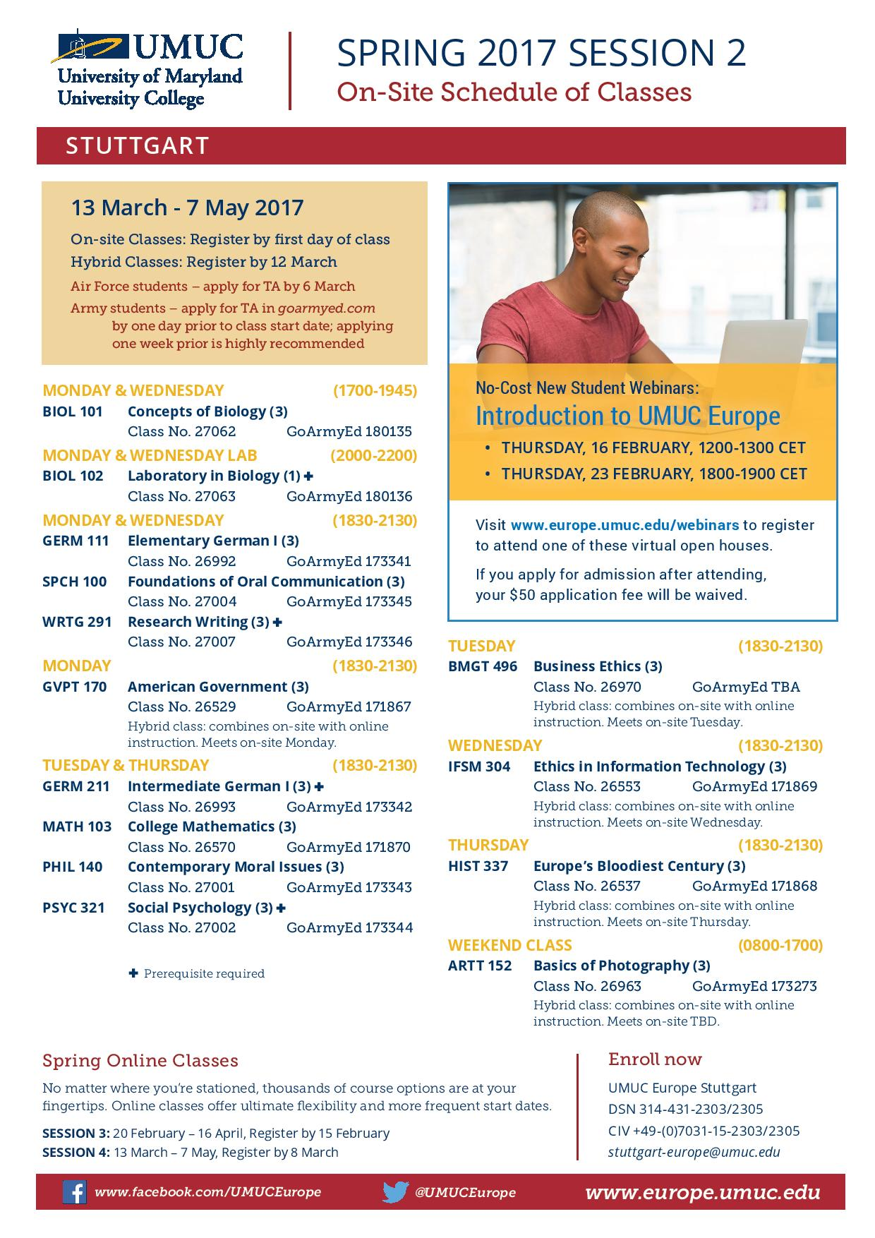 UMUC Europe early registration for Spring 2017