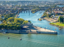 Koblenz, as seen from above, is located at the Deutsches Eck, where the Moselle flows into the Rhine. Photo by Ron Jones, SGAWC.