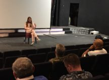 International Success Coach Ava Diamond speaks to service members on mental fitness practices at the Kelley Barracks theater, April 19, 2017. Photo by Holly DeCarlo-White