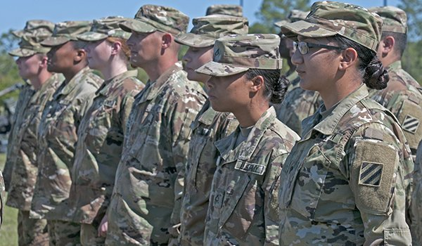 Soldiers of 3rd Infantry Division stand in formation during the division's change of command ceremony May 8, 2017 at Cottrell Field, Fort Stewart, Ga. Maj. Gen. Jim E. Rainey relinquished command of 3rd ID to Maj. Gen. Leopoldo A. Quintas. (U.S. Army photo by Zoe Garbarino/Released)