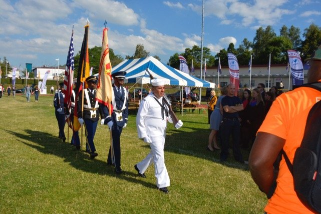 A joint service color guard marches toward the stage in honor of Vietnam vets, July 4. Photo by John Reese, USAG Stuttgart Public Affairs