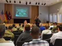 Otis Toussaint, a sponsorship instructor with the U.S. Army Garrison Rheinland-Pfalz Army Community Service's Relocation Readiness Office, asks a question to attendees of the sponsorship training class held at Landstuhl Regional Medical Center July 19, 2017. To schedule sponsorship training for an individual or a group, call DSN 541-9000 (Kaiserslautern) or 531-2850 (Baumholder). (Photo Credit: Ms. Mary Ann Davis (IMCOM))