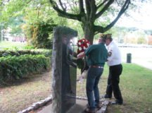 (From Left) John Leffler, commander, VFW Department of Europe and Joe Holder, junior vice commander, Department of Europe and post commander, VFW Post 10810 lay a wreath to recognize POW/MIA Day, Sept. 15, 2017 at the memorial on Patch Barracks. Photo courtesy of VFW Post 10810
