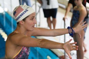 Jane Overslaugh RathbunVandenberg demonstrates proper technique during the Stuttgart Piranhas Olympic Swim Clinic held Feb. 8 at Gartenhallenbad Maichingen.