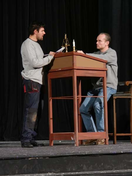 "Martin Jelonek, in the part of Scrooge's nephew, Fred, reviews dialogue with Max Heidt, who plays Scrooge. The quality of the theatre's performances is such that season ticket holders often inquire about renewing after the final performance of the season. ""I don't have the next season set yet, but they don't care, they just like coming here!"" said Artistic Director Richard Roberts."