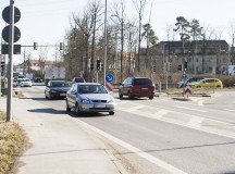 Panzerstrasse near Panzer Kaserne at a quieter moment. Commuter traffic before and after work can be heavy.