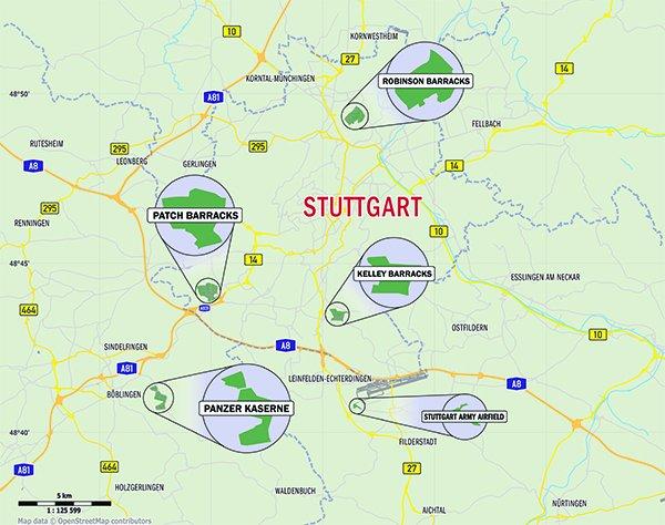 Introduction To The Stuttgart Area StuttgartCitizencom - Us army garrison stuttgart map