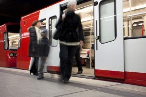 Passengers Getting off the Subway, Blurred Motion