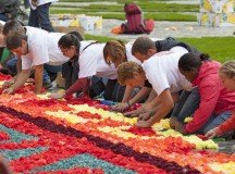 """Fronleichnam,"" or Corpus Christi, is observed May 26 and is a federal holiday in Germany. Creating colorful flower carpets is one of many treasure traditions on Fronleichnam. Photo by Shutterstock.com."