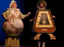 Tina Ramun as Mrs. Potts and Peter Watt as Cogsworth in Beauty and the Beast.
