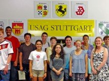 USAG Stuttgart 2015 Summer Hires received certificates for completing the program presented by Heidi Malarchik, deputy to the garrison commander, and Richard Calnon, director of human resources on Aug. 7.