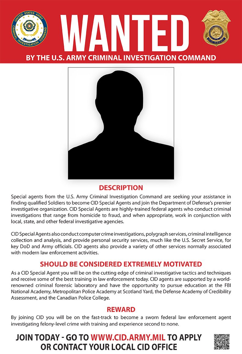 Army criminal investigation command accepting applications for Cid special bureau 13 feb 2015