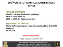 New hours at Stuttgart Army Finance Office