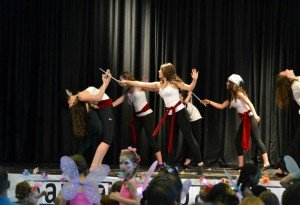 """During the 2015 Dance Production Studio performance of Peter Pan and the Pirates, the """"Pirates"""", Isabella Weibel, Jackie Romo, and Zoe Egley received thunderous applause after dancing to """"He's A Pirate""""."""