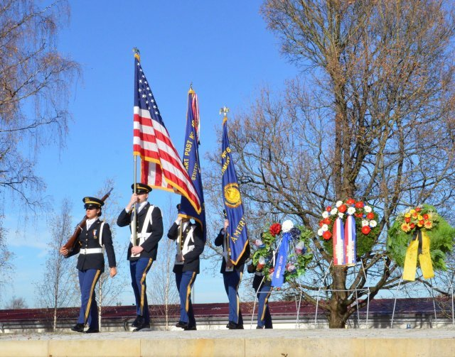 Stuttgart High School JROTC color guard retire the colors at U.S. Army Garrison Stuttgart's Veteran's Day Ceremony held on Patch Barracks, Nov. 11, 2015.