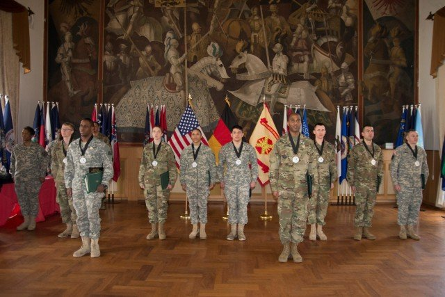 Competitors of the 2016 U.S. Army Stuttgart Best Warrior Competition were honored during the closing ceremony Feb. 24 at the Panzer Community Club.