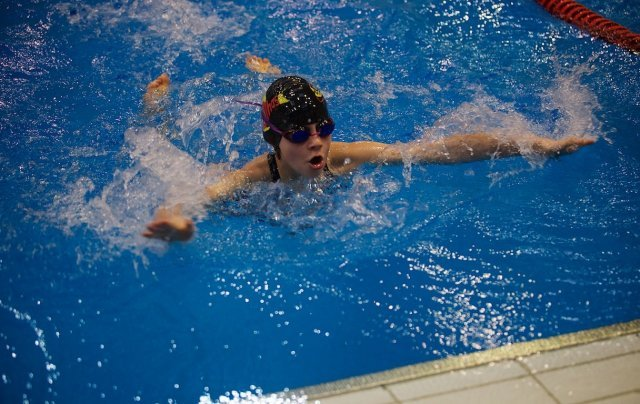Tessa Fellona, a swimmer for the Stuttgart Piranhas and a fifth grader at Patch Elementary, competes in the European Forces Swim League Divisional Championships in Berlin on Feb. 7