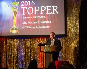 Michael Formica, director of Installation Management Command-Europe, addressed attendees during the annual 2016 Topper Awards ceremony held April 24 at Armstrong's Club on U.S. Army Garrison Rheinland-Pfalz, to recognize community theater performances and achievements at military installations located throughout Belgium, Italy and Germany. Photo Credit: Lt. Col. David Yuen