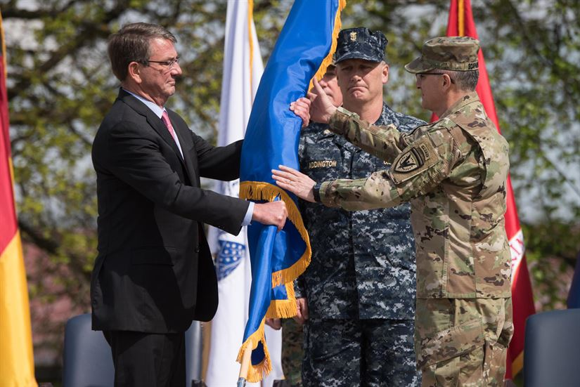 Scaparrotti Takes Command of Eucom at 'Pivotal Moment' Defense Secretary Ash Carter presents the U.S. European Command flag to Eucom's new commander, Army Gen. Curtis M. Scaparrotti, during a change of command ceremony in Stuttgart, Germany, May 3, 2016. DoD photo by D. Myles Cullen
