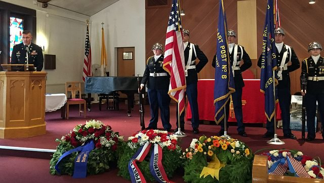 U.S. Army Garrison Stuttgart's Col. Glenn K. Dickenson, garrison commander spoke to guests about the importance of honoring the fallen during a Memorial Day Ceremony hosted by the American Legion Stuttgart Post 6, May 30 at the Patch Chapel, Patch Barracks.