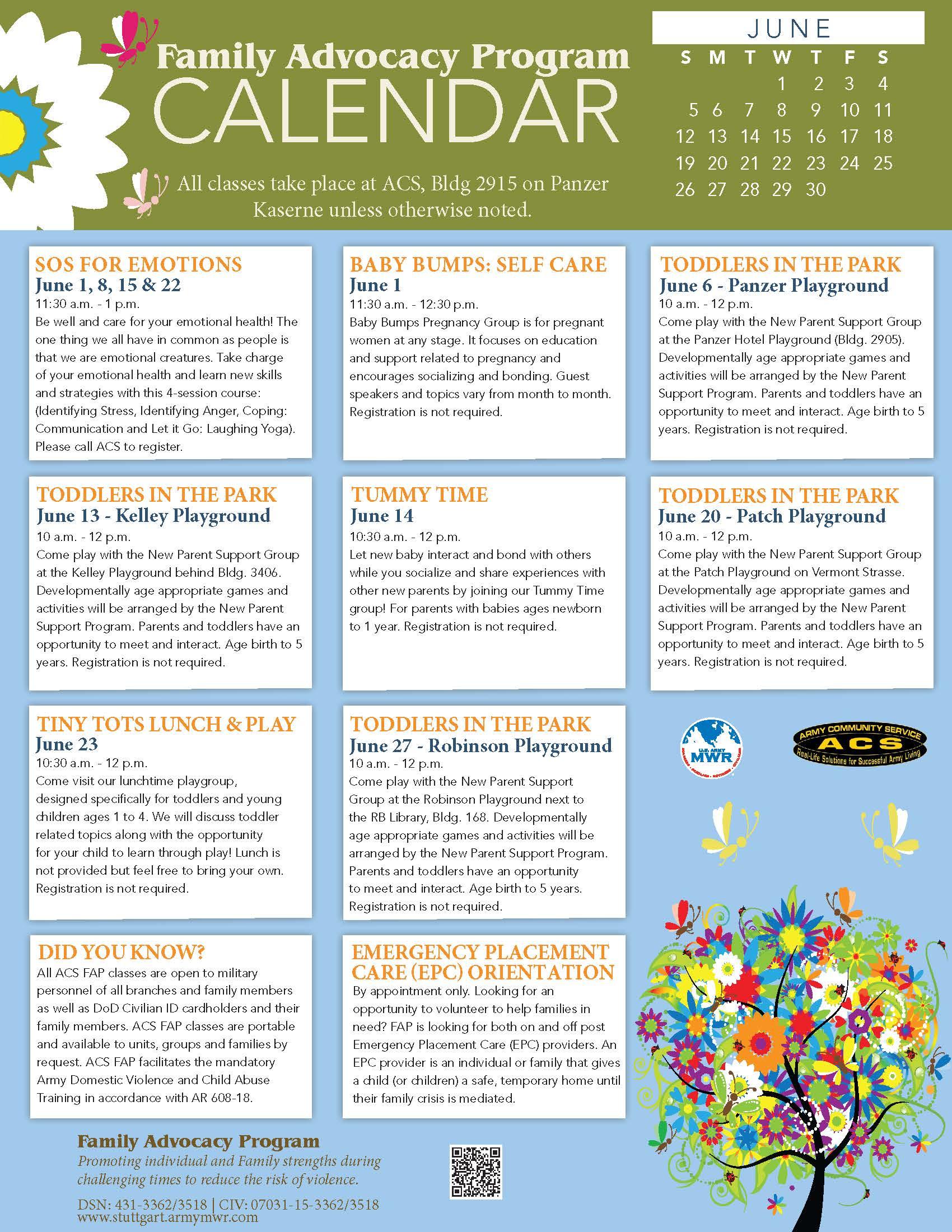 FAP June 2016 Calendar