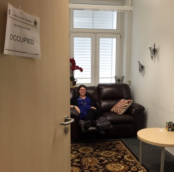 Rita M. Goldstein, Army Community Service's Family Advocacy Program manager shows off the private Lactation Room located at ACS, Building 2915 on Panzer Kaserne, May 18.