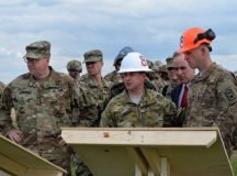 Lt. Gen. Ben Hodges, commander of U.S Army Europe, and Michael Formica, director of IMCOM-Europe, receive a project briefing at Novo Selo Training Area, Bulgaria.