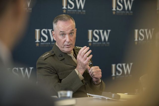 Active-Duty personnel must remain apolitical, nonpartisan, Dunford says