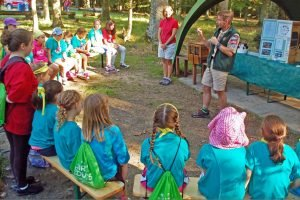 A group of Girl Scouts of Stuttgart gather for a lesson on bees and wasps during the Magical Adventures in Scouting day camp held, Aug. 8-12, 2016 in Böblingen, Germany. Photo Credit: Marlieke Eaton
