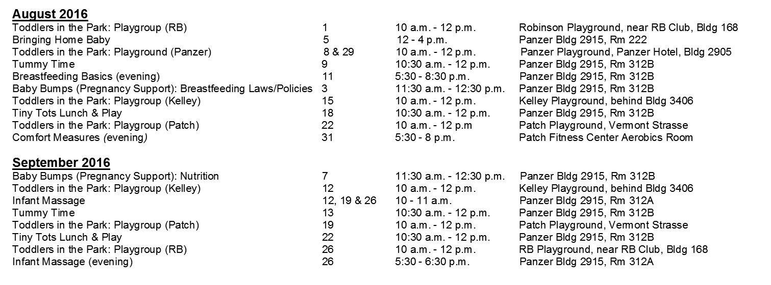 FAP Aug Sep 2016 Schedule