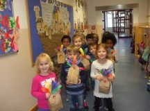 Patch Elementary School Kindergartners deliver hand-made turkey bags of popcorn to 100 Military Police, Nov. 21, 2016 on Panzer Kaserne and Patch Barracks for Thanksgiving. Photo by Anna Ingalls