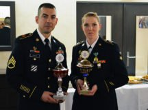 U.S. Army Staff Sgt. Javier Rivera, a signal support systems specialist assigned to the 52nd Strategic Signal Battalion, 2nd Signal Brigade, and Spc. Allison Sardler, a network operations specialist also assigned to the 52nd SSB, were named winners of the 5th Signal Command (Theater) Best Warrior Competition at an awards ceremony March 22, 2017 in Wiesbaden, Germany. (Photo Credit: 2nd Signal Brigade)