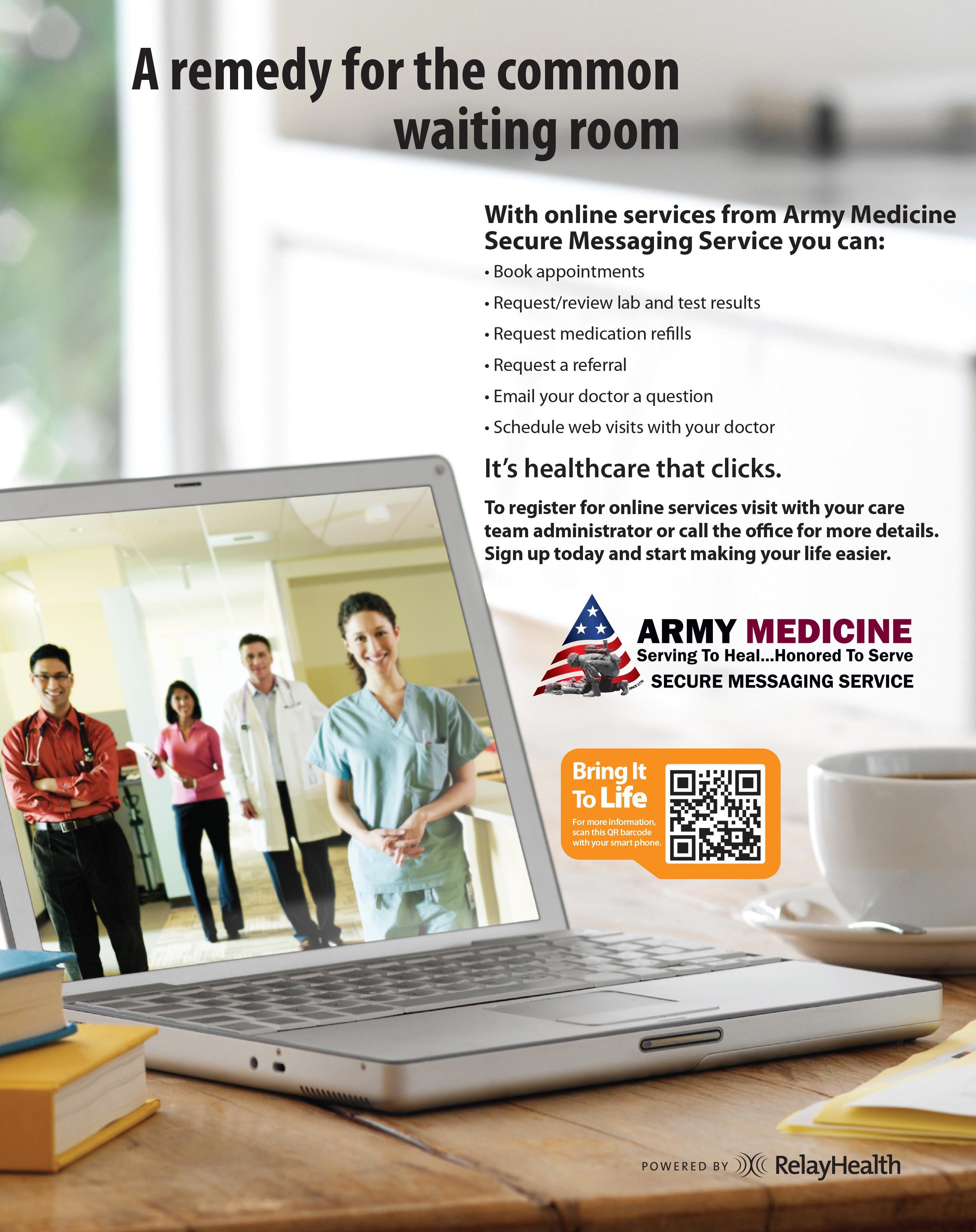 Stuttgart Health Clinic online forms, direct messaging