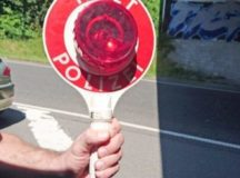 """Police in Germany may use hand-held signals that say """"Halt Polizei"""" or digital signs attached to their vehicles that say """"Bitte folgen"""" to ask drivers to pull over."""