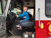 Everitt Harvey sits in the USAG Stuttgart Fire Department's fire truck outside Patch Barracks Fitness Center during the spring MOMC festival, April 29.