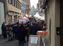 Crowded, narrow Tubingen  street during holiday shopping. Photo by John Reese, USAG Stuttgart Public Affairs