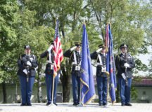 Stuttgart High School JROTC Color Guard posted colors at the U.S. Army Garrison Stuttgart Memorial Day Ceremony  May 29 at Washington Square on Patch Barracks. - Photo by Kevin S. Abel