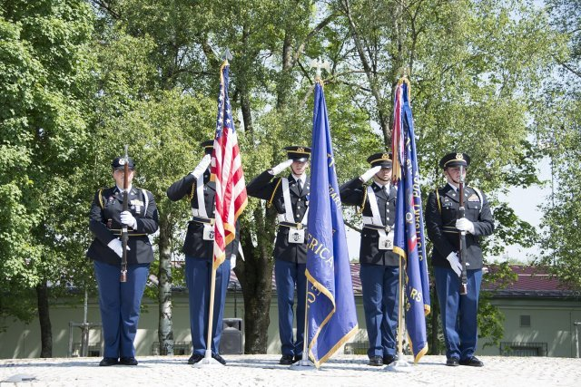 Stuttgart High School JROTC Color Guard posted colors at the U.S. Army Garrison Stuttgart Memorial Day Ceremony May 29 at Washington Square on Patch Barracks.
