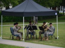 The the USAEUR Band's Brass Quintet performs the USAG Stuttgart change of command ceremony, July 12, 2017. Photo by John Reese, USAG Stuttgart Public Affairs