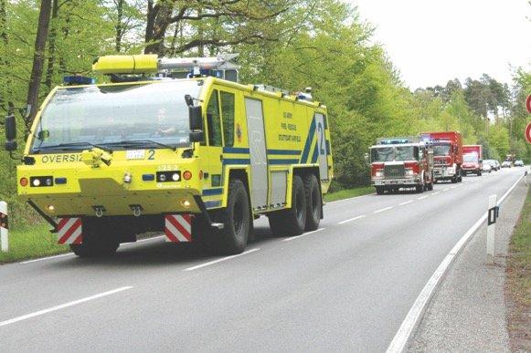USAG Stuttgart fire trucks on the move. Photo courtesy of USAG Stuttgart  Fire Department