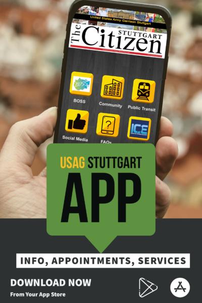 Hand holding the USAG Stuttgart app