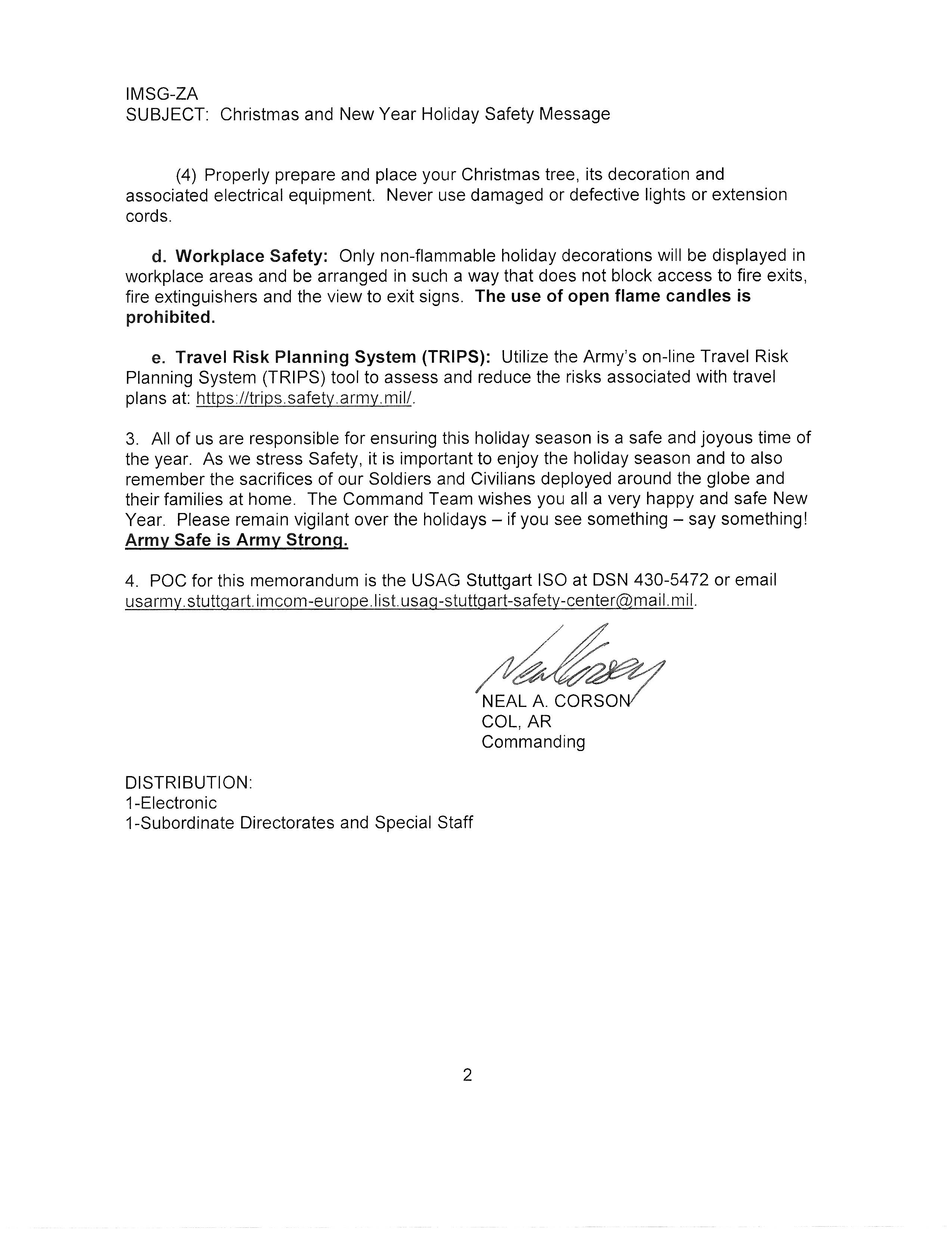 Holiday Safety Message from USAG Stuttgart Command Team ...