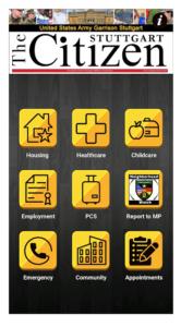 USAG Stuttgart App Homepage