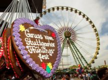 """Stuttgarter Frühlingsfest, or spring festival, takes place at the Cannstatter Wasen fest grounds in Bad Cannstatt and will celebrate its 80th anniversary this year. Patrons enjoy the view of the fest grounds from the """"Bellevue"""" Ferris wheel, just one of many activities offered throughout the fest. Photo courtesy of in.Stuttgart/Thomas Niedermüller."""