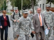 Karl-Heinz Mueller briefs Gen. Dennis L. Via, commander, Army Materiel Command, and his senior staff during a visit to the LRC-Stuttgart, Sept. 16, 2015. The visit was to inform senior leadership face-to-face on how they support customers and contribute to the senior commands' mission. Photo courtesy of Karl-Heinz Mueller
