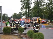 The incident scene at Kelley Barracks in the midst of the rescue operation.  Photo by Larry Reilly.